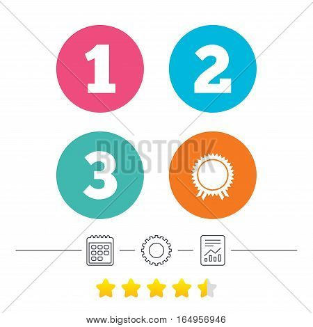First, second and third place icons. Award medal sign symbol. Calendar, cogwheel and report linear icons. Star vote ranking. Vector