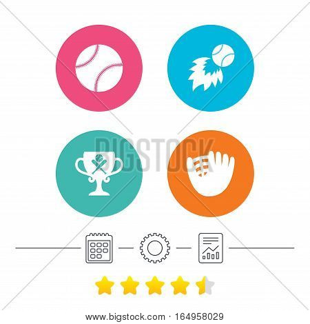 Baseball sport icons. Ball with glove and two crosswise bats signs. Fireball with award cup symbol. Calendar, cogwheel and report linear icons. Star vote ranking. Vector