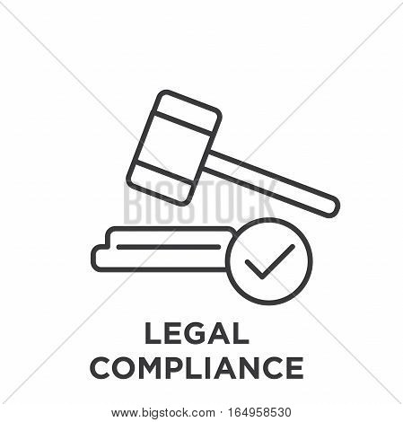 Legal Compliance Graphic with Judge Mallet and tick mark