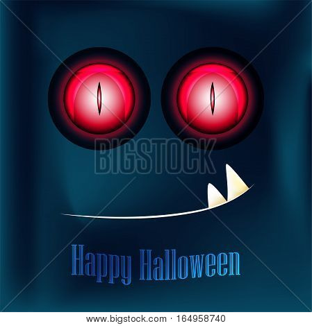 Happy Halloween, greeting card with monster. Red eyes and teeth monster.