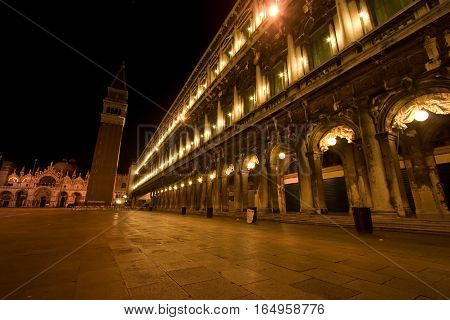 Venice Nightscape with piazza san marco at night.