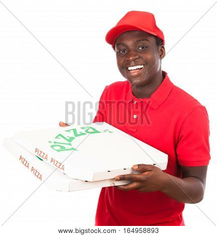 pizza delivery boy with two pizza cartons