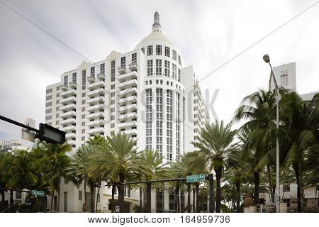 MIAMI BEACH - JANUARY 12: Long exposure photo of the Loews Hotel located at 1601 Collins Avenue built in the 1950's directly on the beach January 12, 2017 in Miami Beach FL, USA