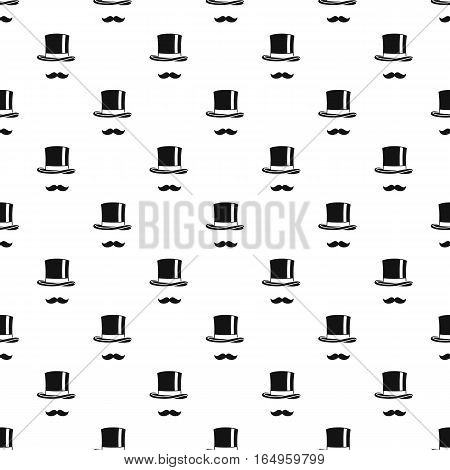 Male black mustache and cylinder pattern. Simple illustration of male black mustache and cylinder vector pattern for web