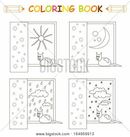 Children coloring page, cat sitting on the window, thin black line sketch on white, stock vector illustration