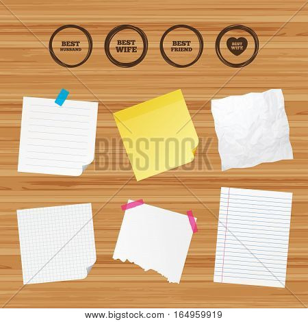 Business paper banners with notes. Best wife, husband and friend icons. Heart love signs. Award symbol. Sticky colorful tape. Vector