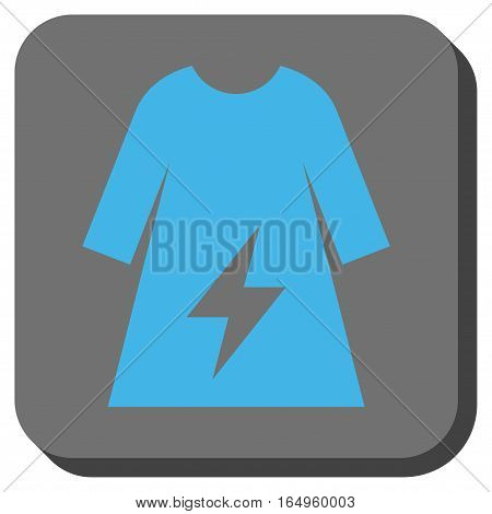 Electricity Female Dress square button. Vector pictograph style is a flat symbol on a rounded square button blue and gray colors.