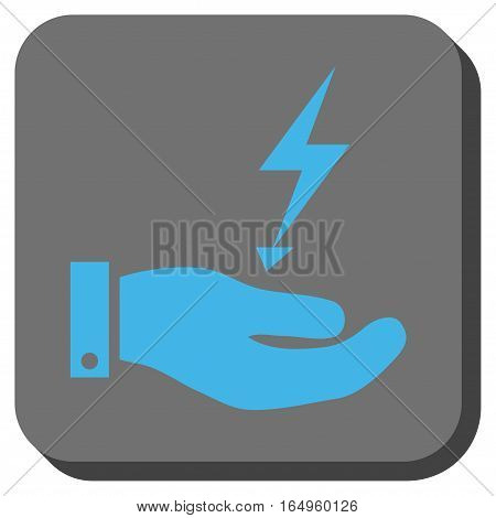 Electricity Supply Hand interface toolbar icon. Vector pictogram style is a flat symbol on a rounded square button blue and gray colors.