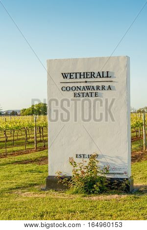 PENOLA SOUTH AUSTRALIA - OCTOBER 27 2016: Sign at entrance to Wetherall vineyards at Coonawarra in South Australia in spring evening sunlight.