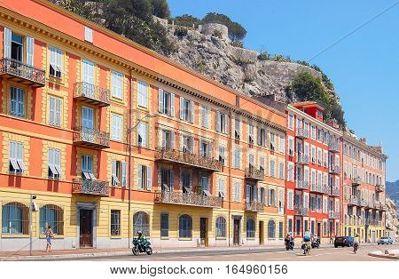 Colorful houses on the Quai de Rauba in Nice on the French Riviera