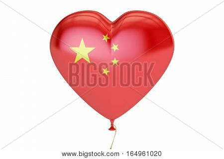 balloon with China flag in the shape of heart 3D rendering