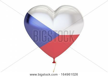 balloon with Czech Republic flag in the shape of heart 3D rendering