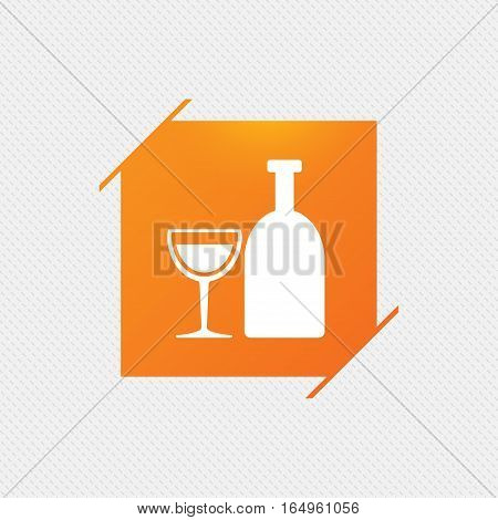 Alcohol sign icon. Drink symbol. Bottle with glass. Orange square label on pattern. Vector