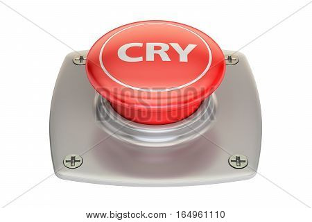 Cry Red Button 3D rendering isolated on white background