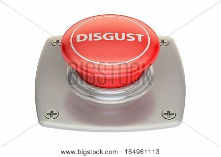 Disgust Red Button 3D rendering isolated on white background