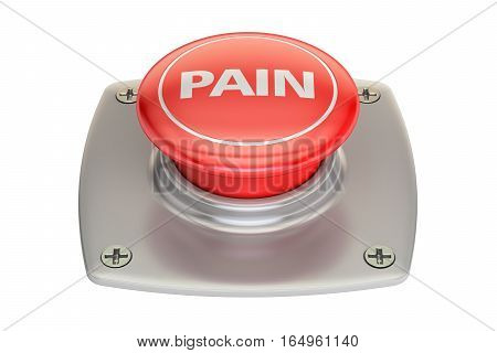 Pain Red Button 3D rendering isolated on white background