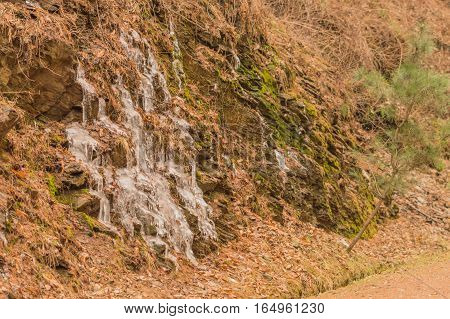 Water frozen as it comes to the surface and runs down the side of a hill