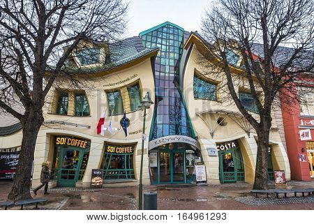 SOPOT POLAND - NOVEMBER 30 2016: Crooked little house (Polish