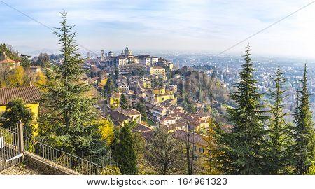 Panoramic Autumn View Of Bergamo Old Town, Italy