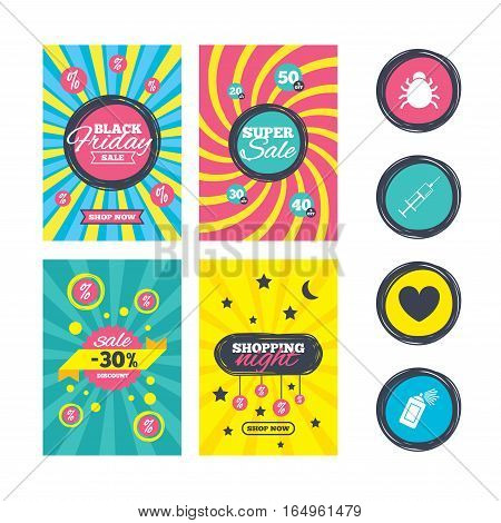 Sale website banner templates. Bug and vaccine syringe injection icons. Heart and spray can sign symbols. Ads promotional material. Vector