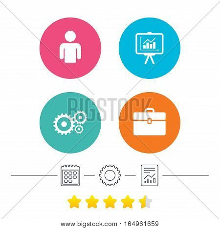Business icons. Human silhouette and presentation board with charts signs. Case and gear symbols. Calendar, cogwheel and report linear icons. Star vote ranking. Vector