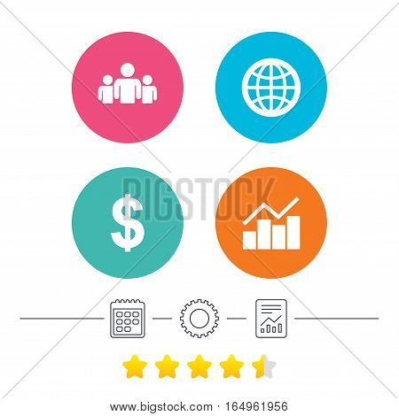 Business icons. Graph chart and globe signs. Dollar currency and group of people symbols. Calendar, cogwheel and report linear icons. Star vote ranking. Vector