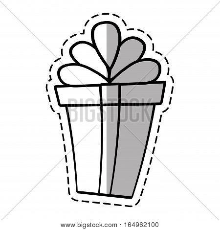gift box ribbon valentine party celebration linea shadow vector illustration eps 10