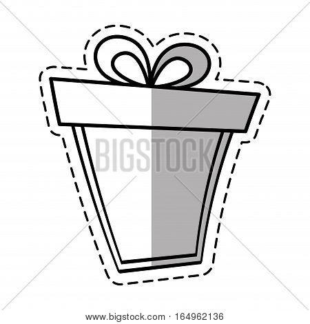 gift box ribbon anniversary party linea shadow vector illustration eps 10