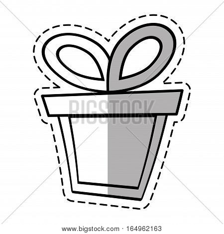 gift box ribbon valentine party linea shadow vector illustration eps 10