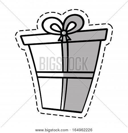 gift box ribbon package decor linea shadow vector illustration eps 10