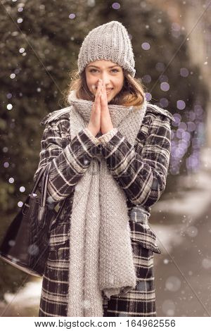 Young Adult Woman Warming Hands Winter Smiling
