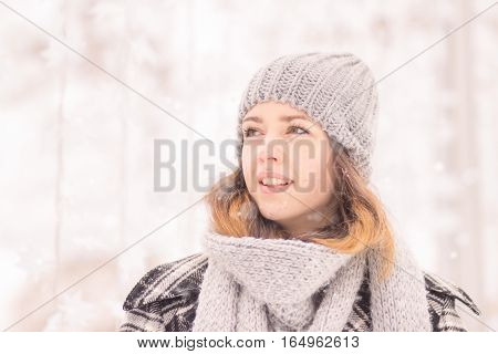 Young Woman Face Head Close Up, Winter Hat Scarf