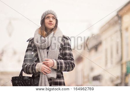 Young Woman Winter Snowing Looking Above Up Winter