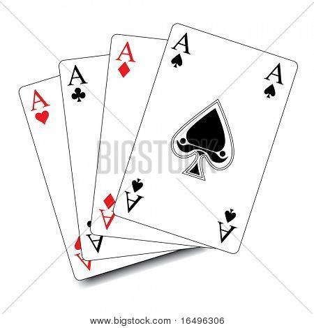 isolated poker playing cards / aces in vector