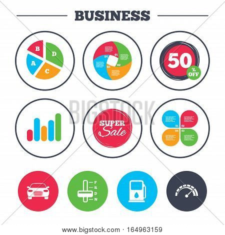 Business pie chart. Growth graph. Transport icons. Car tachometer and automatic transmission symbols. Petrol or Gas station sign. Super sale and discount buttons. Vector