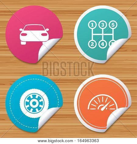 Round stickers or website banners. Transport icons. Car tachometer and mechanic transmission symbols. Wheel sign. Circle badges with bended corner. Vector