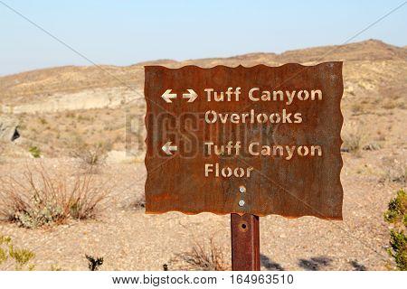 Tuff Canyon Overlooks Sign, Big Bend National Park, Texas