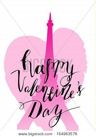 Eiffel tower and heart with handwritten happy Valentine's day. Paris Vector illustration