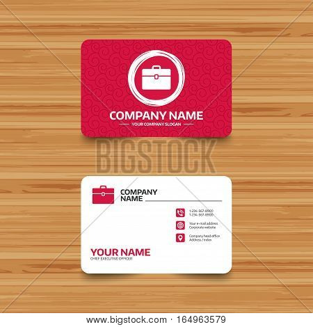 Business card template with texture. Case sign icon. Briefcase button. Phone, web and location icons. Visiting card  Vector
