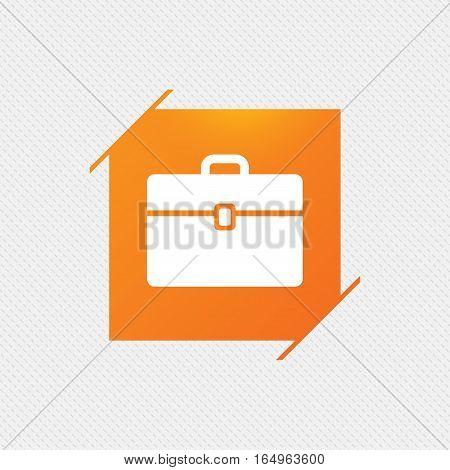 Case sign icon. Briefcase button. Orange square label on pattern. Vector