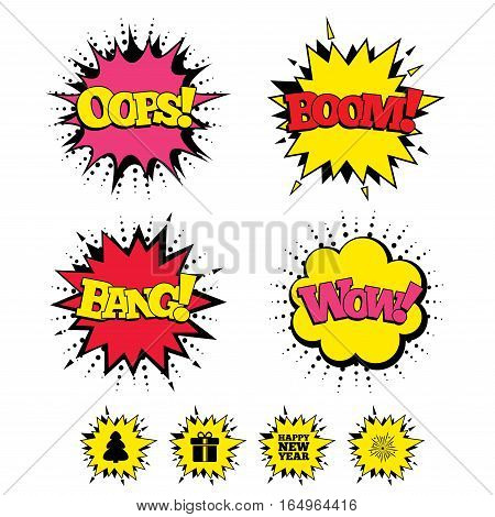 Comic Boom, Wow, Oops sound effects. Happy new year icon. Christmas tree and gift box signs. Fireworks explosive symbol. Speech bubbles in pop art. Vector