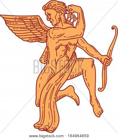 Mono line style illustration of angel cupid holding bow drawing arrow from the back looking to the side viewed from front set on isolated white background.
