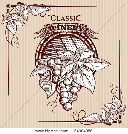 Vector graphic poster template on the theme of wine. Figure laconic, filled in translational colors. In the center of the image is a wooden barrel and a bunch of grapes. The corners are decorated with vine leaves poster.