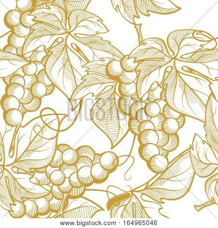 Vector graphic seamless pattern bunch of grapes. Drawing made in the laconic style in pastel colors. The presence of elements of the grape vines, grape leaves. For registration of printed products in the Mediterranean-style wineries.