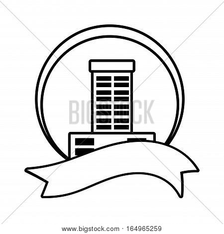 real estate building emblem ribbon outline vector illustration eps 10