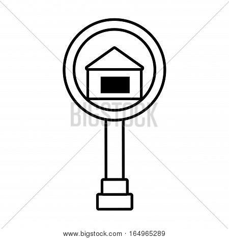 real estate house road sign outline vector illustration eps 10