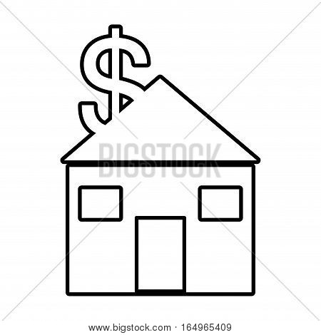 real estate dollar money symbol outline vector illustration eps 10