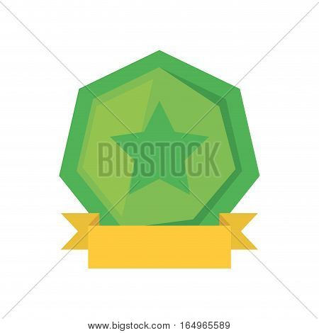 green shield with star and yellow ribbon vector illustration eps 10