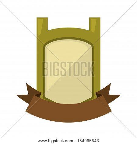 green vintage shield emblem with brown ribbon vector illustration eps 10