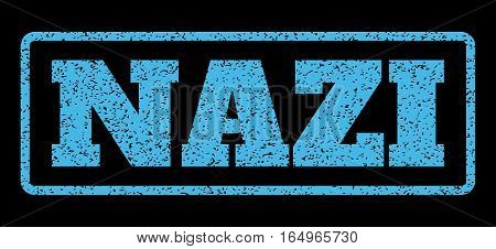 Light Blue rubber seal stamp with Nazi text. Vector message inside rounded rectangular frame. Grunge design and scratched texture for watermark labels. Horisontal emblem on a black background.